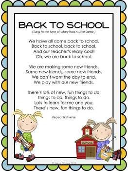 Song Lyrics Set To The Tune Of Mary Had A Little Lamb About Going Back SchoolEnjoy Singing Together As Class Or Put Illustrated Sheet At