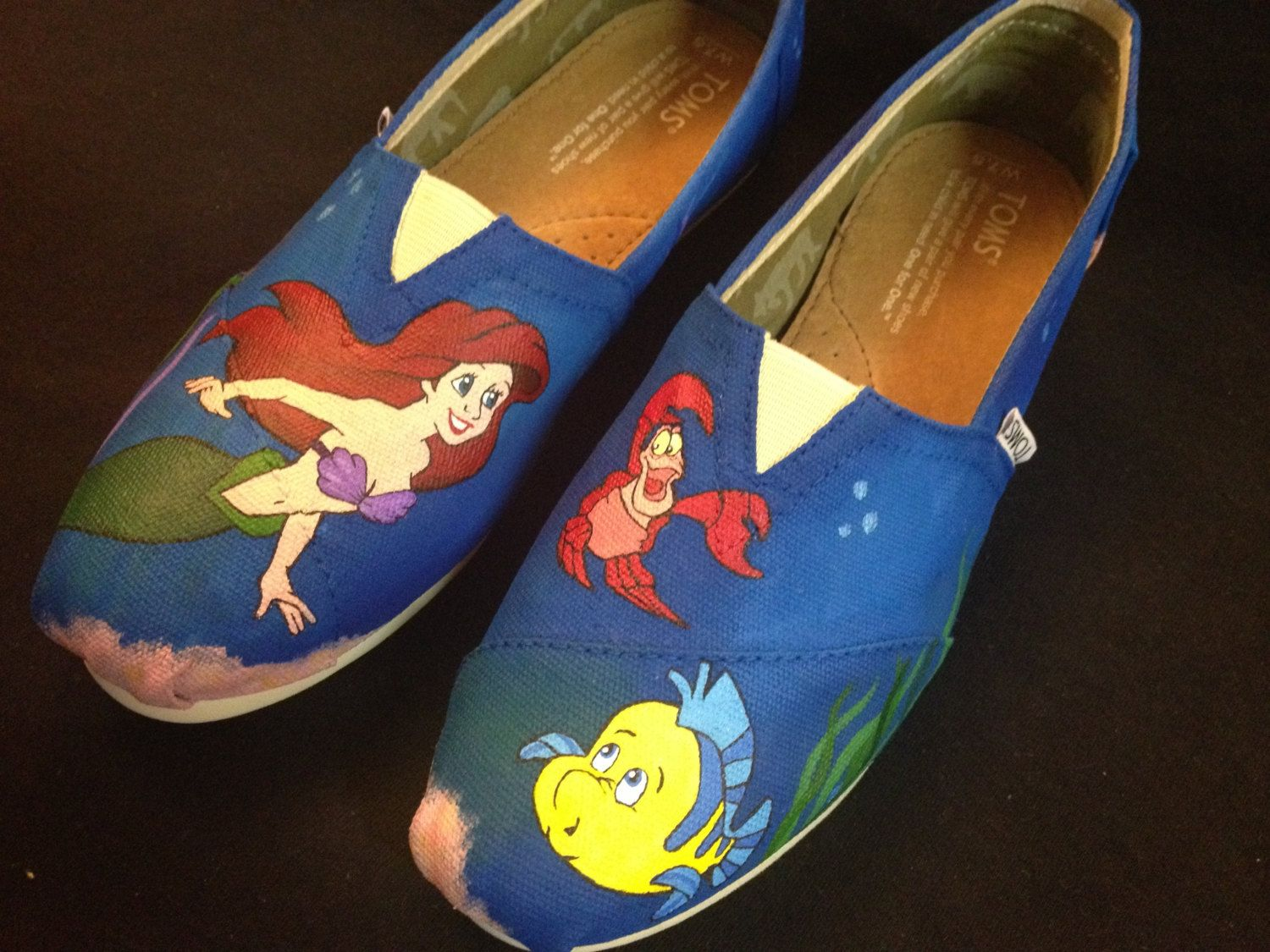 314d3568f8d Custom Hand Painted Shoes Little Mermaid Toms by RyTee on Etsy ...