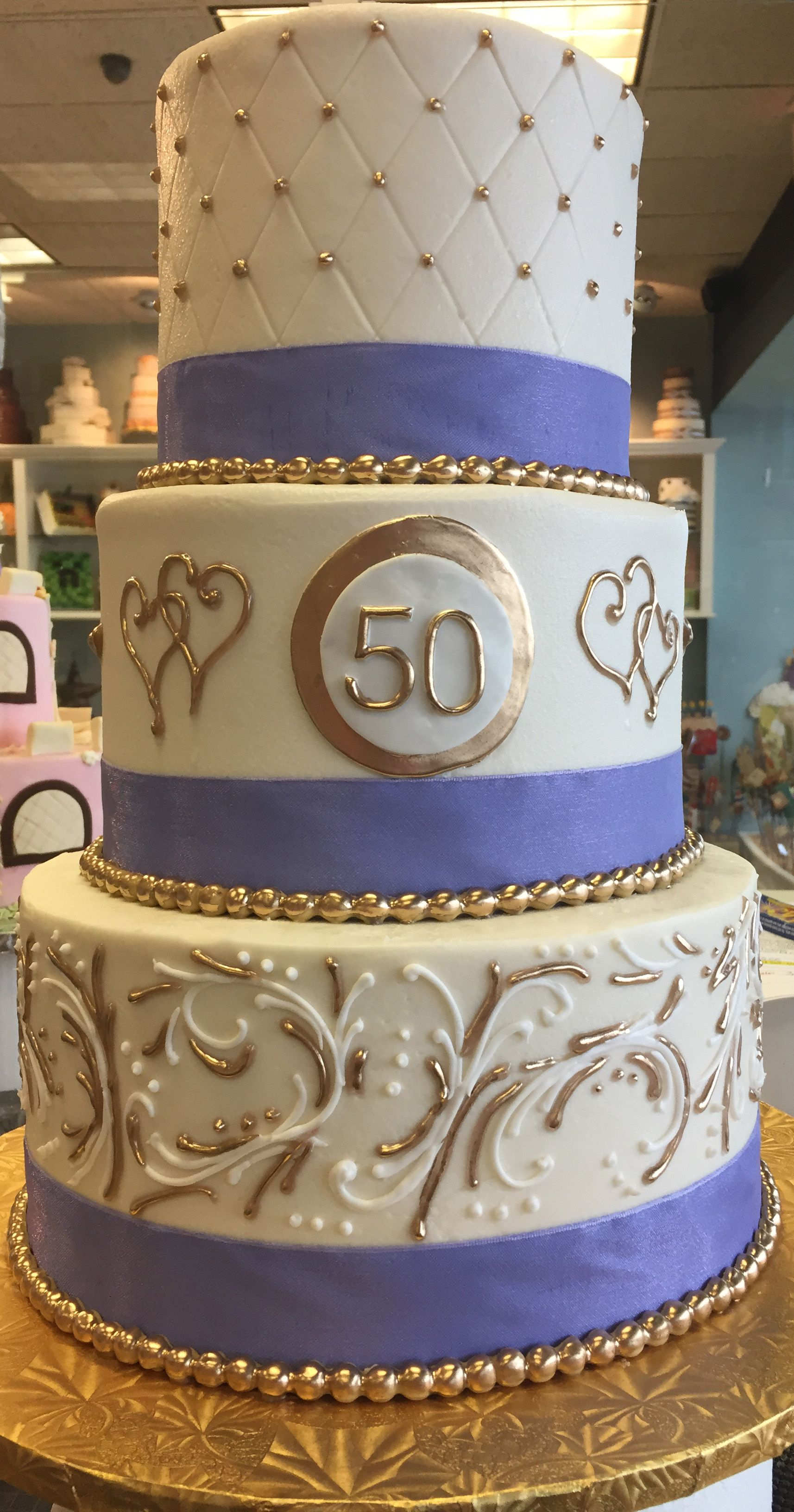 3 Tiered 50th Anniversary Cake In Purple And Gold Cake 009