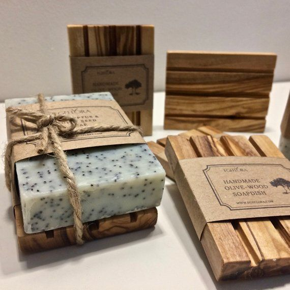 Gift Set Natural Handmade Soap & Handcrafted Olive-Wood Soap Dish , Soap Deck