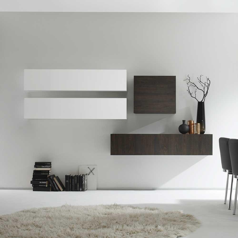 Design Wohnwand in Weiß Hochglanz Wenge hängend (9-teilig