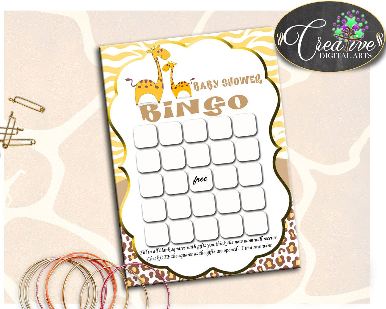Baby Shower Animals Brown Theme Baby Check Off Squares Guessing Game BINGO GIFT GAME, Party Plan, Party Decorations - sa001 #babyshowerparty #babyshowerinvites