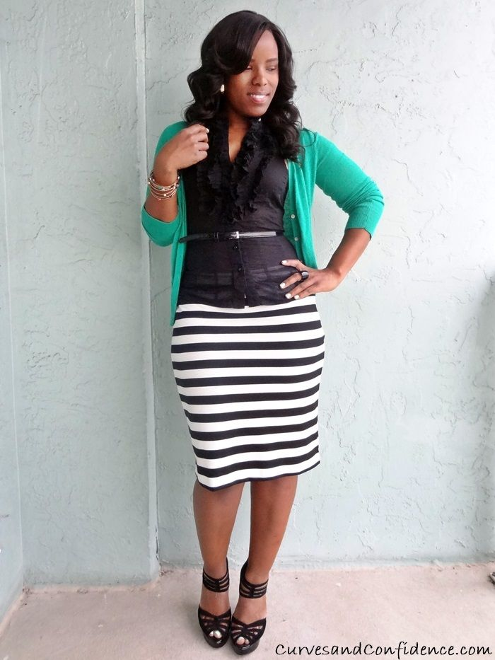 1 black and white striped pencil skirt, ruffled halter top and ...