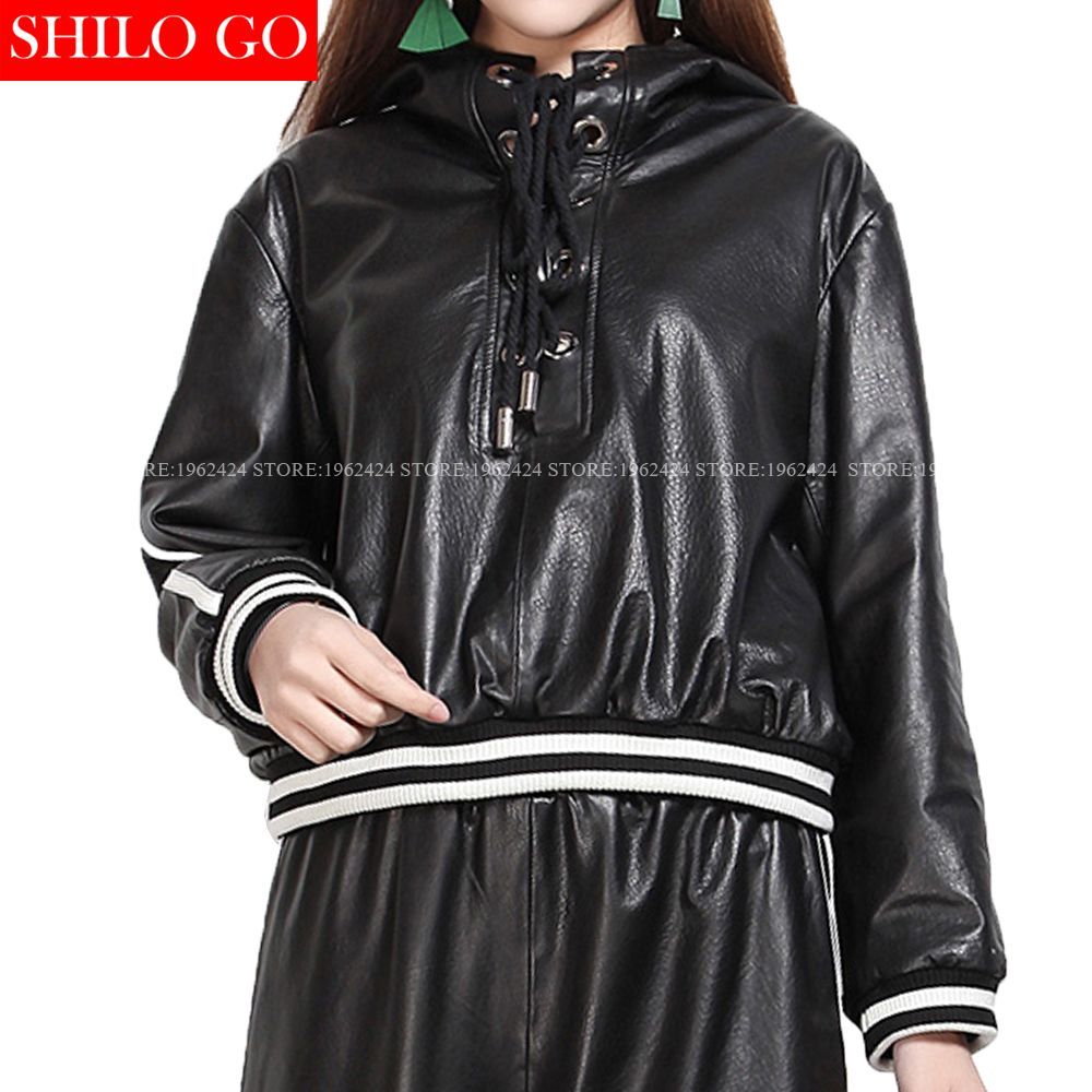 Shilo Go New Fashion Street Women Hooded Metal Pleated Loose Casual Sheepskin Genuine Leather Short Pullover Baseb Leather Shorts Leather Jackets Women Jackets [ 1000 x 1000 Pixel ]