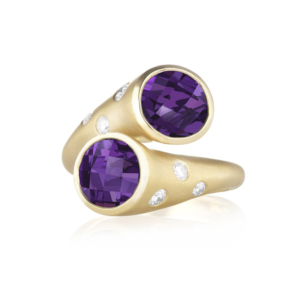 Whirl Amethyst and Pavé Diamond Ring  •GEMSTONE: 2x 8mm Amethyst   •DIAMOND: 0.22ct GH-VS Quality Diamonds   •METAL: 18K Yellow Gold •$2,950 || Carelle Jewelry.
