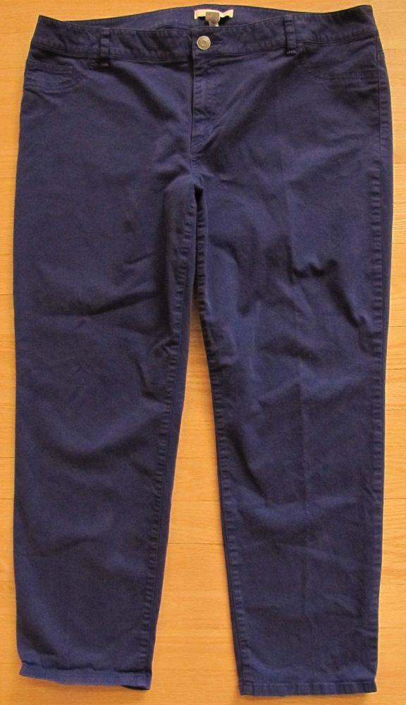 73522a3b577 Chico s Pants Jeans 3 Purple Cropped Crop Capri Slim Straight Leg Stretch  Twill