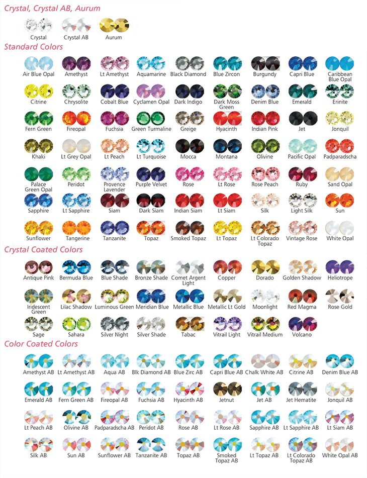 7ebca65c9 Swarovski Color Chart for 2014 | COLOR | Crystal jewelry, Crystal ...