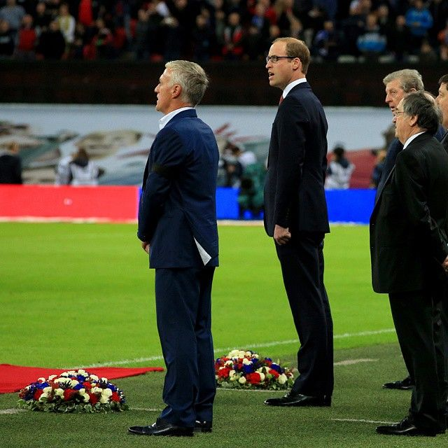 The Duke of Cambridge President of the Football Association laid a wreath in tribute to the victims of the #ParisAttacks ahead of the #EngvFra match at Wembley.  Image  Press Association by kensingtonroyal