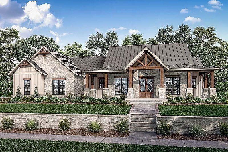 "COOL House Plans on Instagram ""🏡 Farmhouse Style House Plan 3 Bedroom Texas Farmhouse Plan has a metal roof brick and rustic wood detail A partial wrap…"""