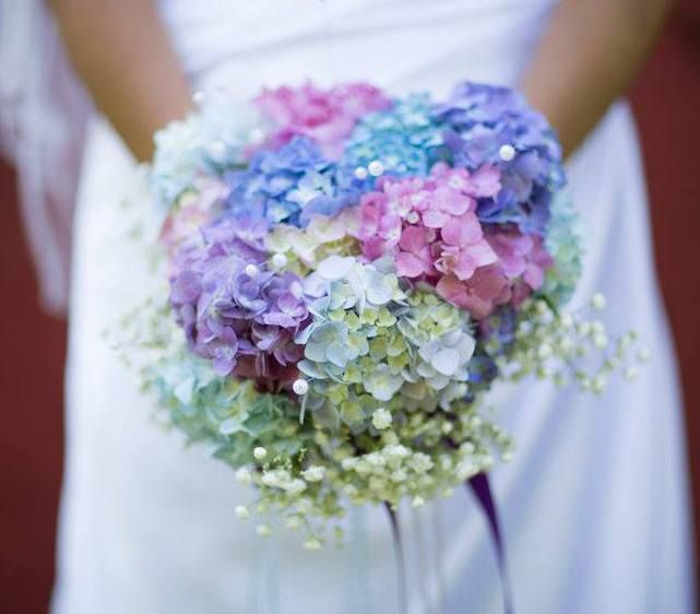 Hydrangea Wedding Bouquet Blue Purple Pink And White With Babys Breath