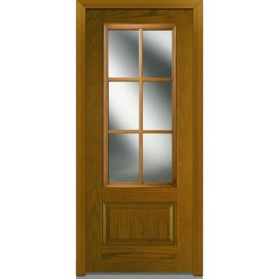 Mmi Door 36 In X 80 In Simulated Divided Lites Left Hand Inswing 3 4 Lite Clear Stained Fiberglass Oak Prehung Front Door Z000246l The Home Depot Oak Exterior Doors Front Door Fiberglass Door