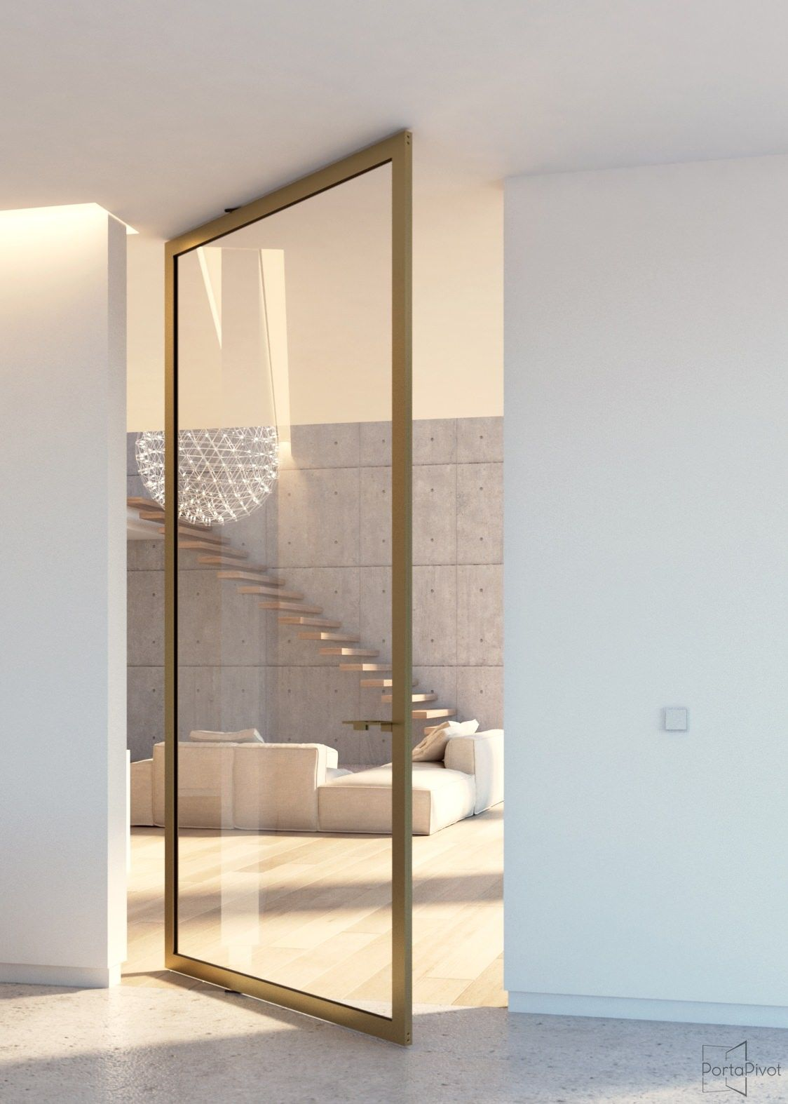 Modern Glass Pivot Door With Bronze Anodized Frame And Transparent