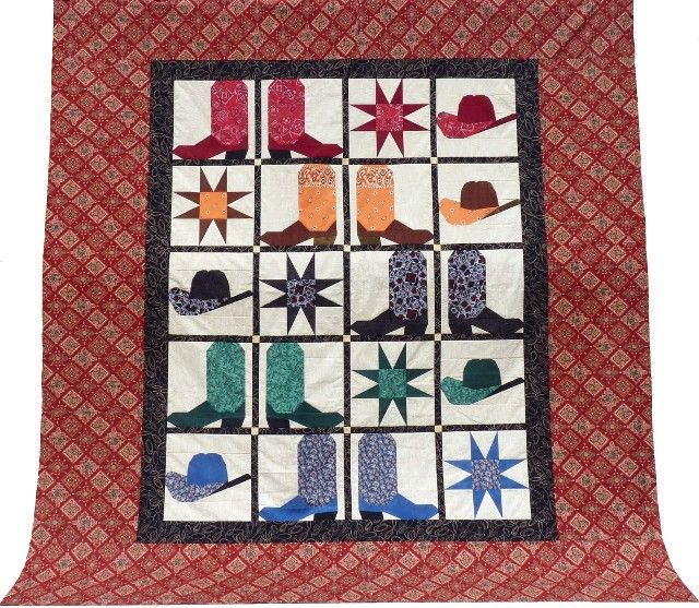 Western Quilt Patterns Cowboy Boots And Hats Cowboy Quilt Western Quilts Quilt Patterns