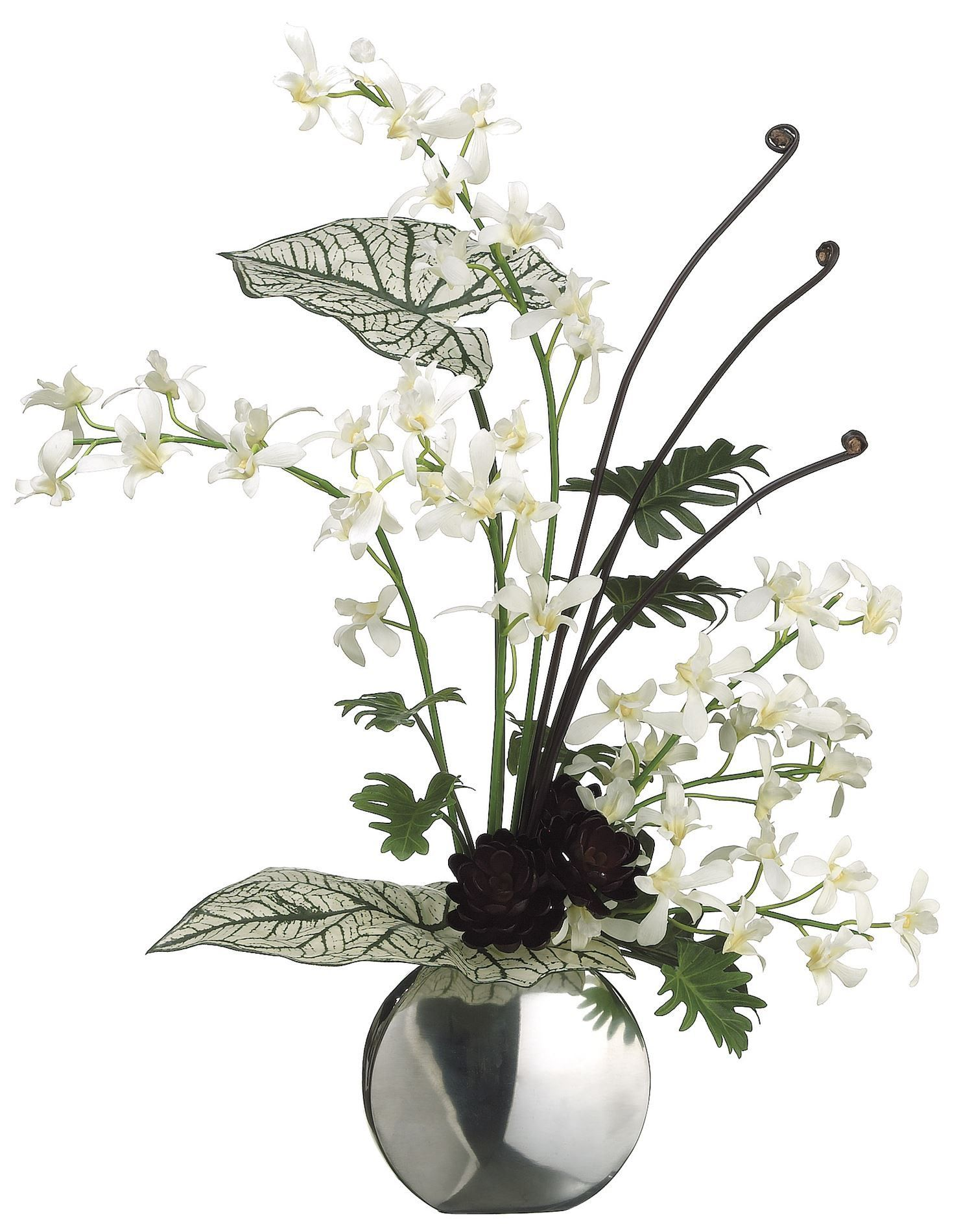 Lifelike white dendrobium orchids in a silver vase floral lifelike white dendrobium orchids in a silver vase floral arrangement reviewsmspy