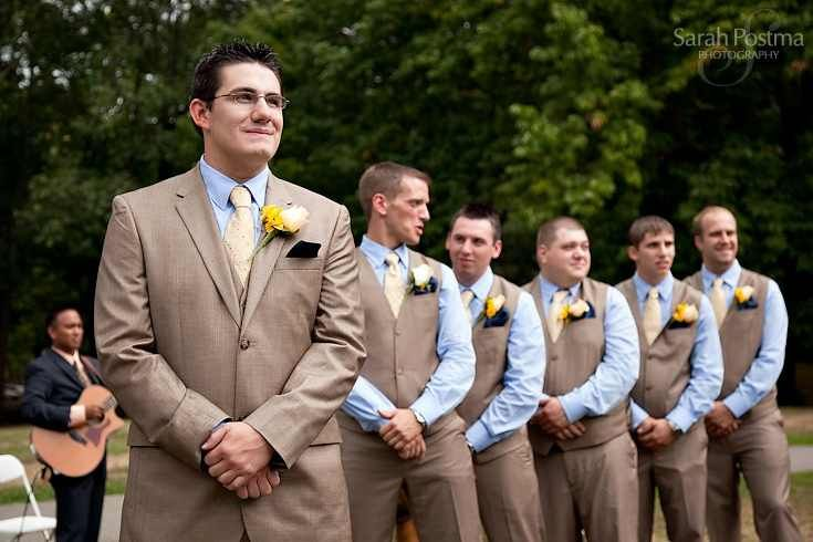 Tan suits instead of the usual black suits for a wedding ...