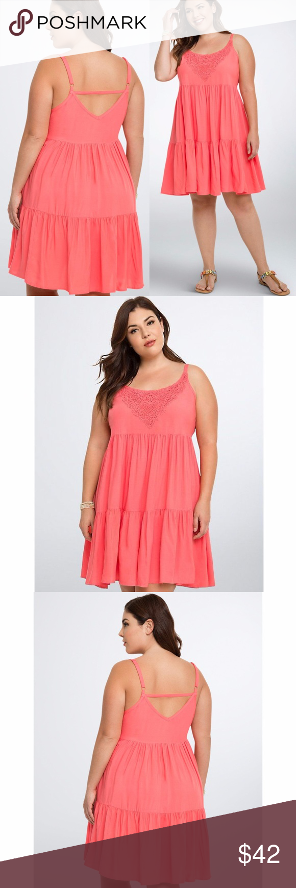 33165f3f015 New TORRID Crochet Inset Tiered Trapeze Dress NWT size 0 (L 12) condition