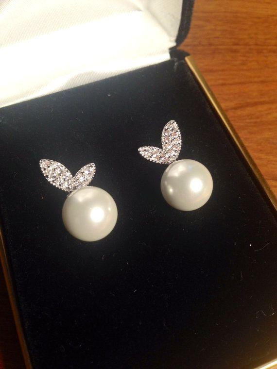 Simple Glass Pearl Earrings for Teens Birthdays by SoraSilver, $17.00