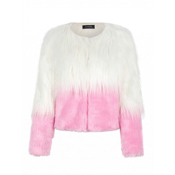 Choies Pink Color Block Faux Fur Coat ($35) ❤ liked on Polyvore featuring outerwear, coats, pink, white coat, pink faux fur coat, pink coat, white fake fur coat and colorblock coat