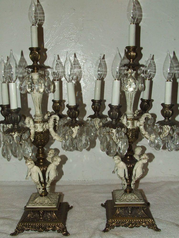 Antique Victorian Brass 19th C. Baroque Cherub Crystal