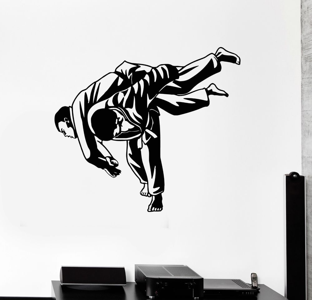 Wall Decal Martial Arts Mma Fight Jiu Jitsu Sports Vinyl Stickers Ig3002 Ebay Sports Wall Decals Sports Vinyl Sports Wall [ 961 x 1000 Pixel ]