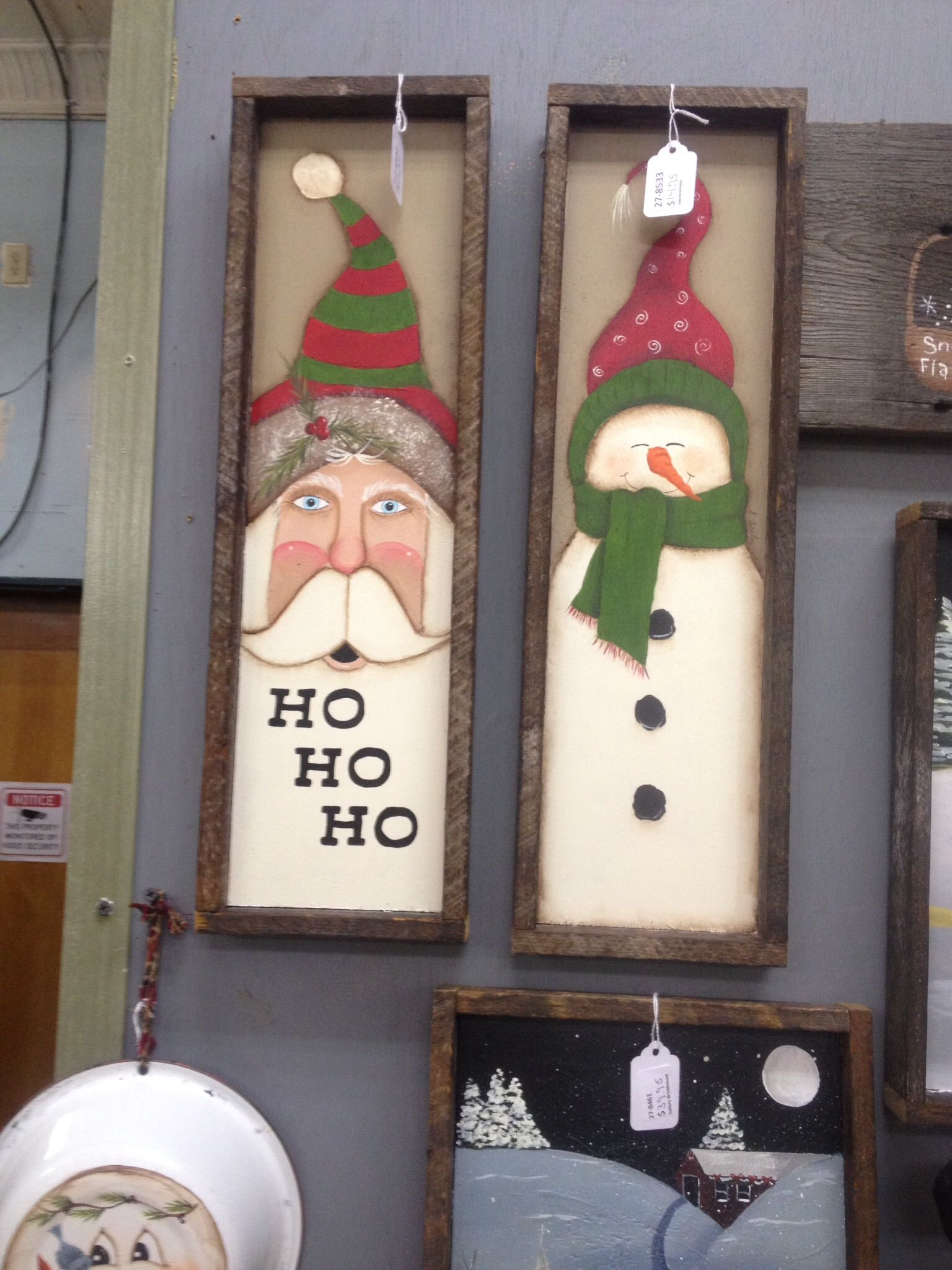 tobacco lathe around wood santa and snowman painted by sharren