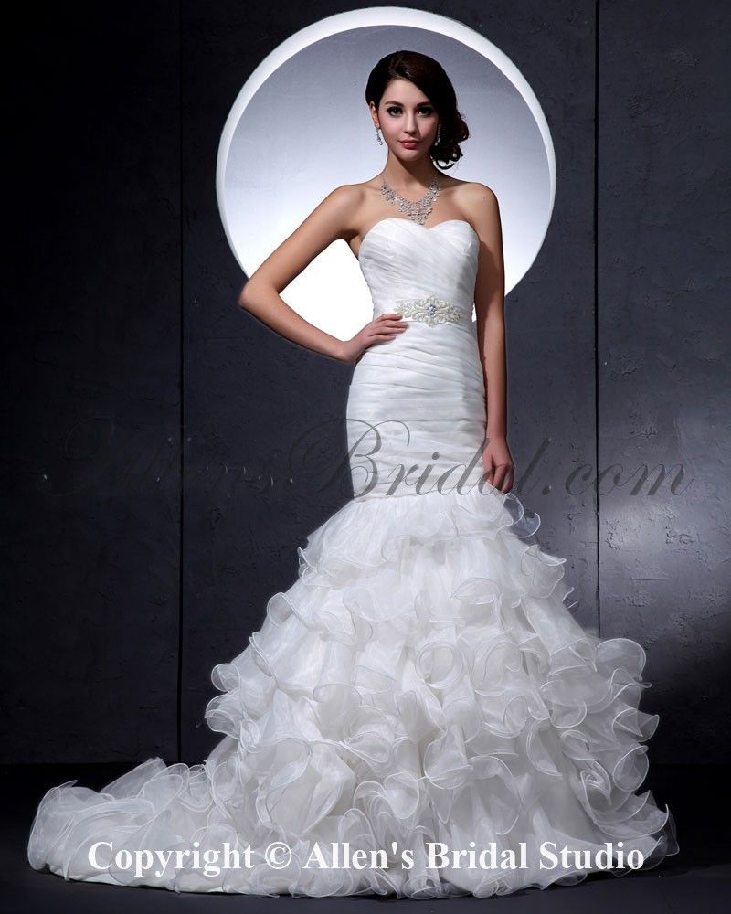 Mermaid ruffle wedding dress  Satin Sweetheart Court Train Mermaid Wedding Dress with Ruffle at