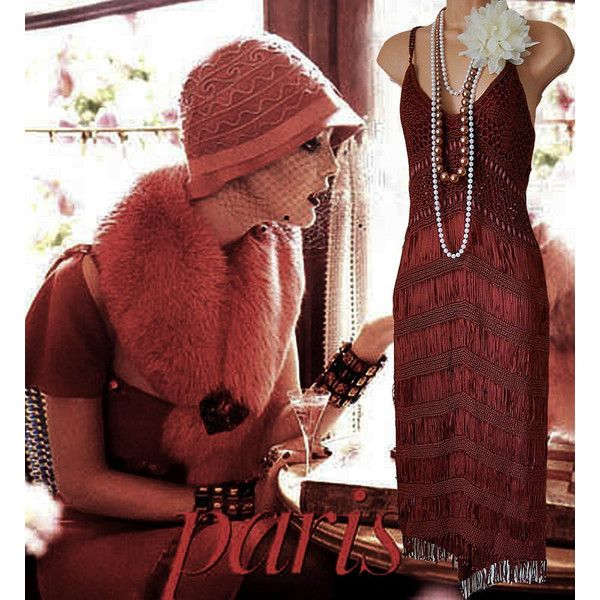 1920's vintage Art Deco bohemian hippie tassel fringe rusty red brown... ($209) ❤ liked on Polyvore featuring accessories