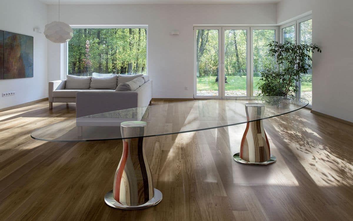 Tavoli Sala Da Pranzo In Legno : Tavolo ovale 2 basi in legno piano in cristallo idfdesign inside