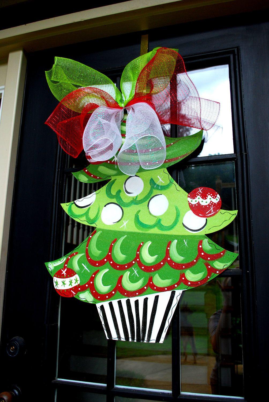 Christmas Tree Door Decoration   Arboles de Navidad ...