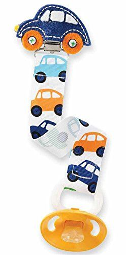 Our grosgrain ribbon car-themed #pacy #clip is an easy and stylish way to keep track of your little one's pacy