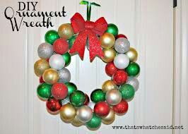 Decorating Wreath With Christmas Balls Multi Color Christmas Ball Wreath  Christmas  Pinterest  Wreaths