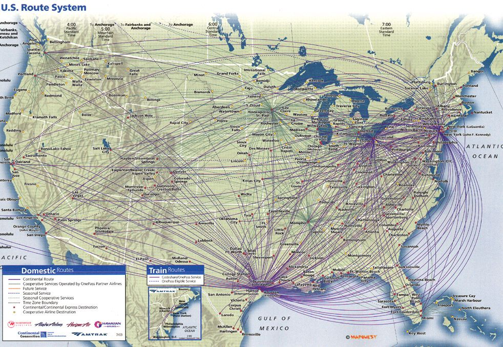 Route Maps Continental Airlines Timetables Route Maps And History - Us flight map