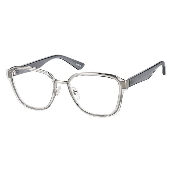 baedb100309 Zenni Geometric Prescription Eyeglasses Gray Tortoiseshell Mixed Materials  1910512