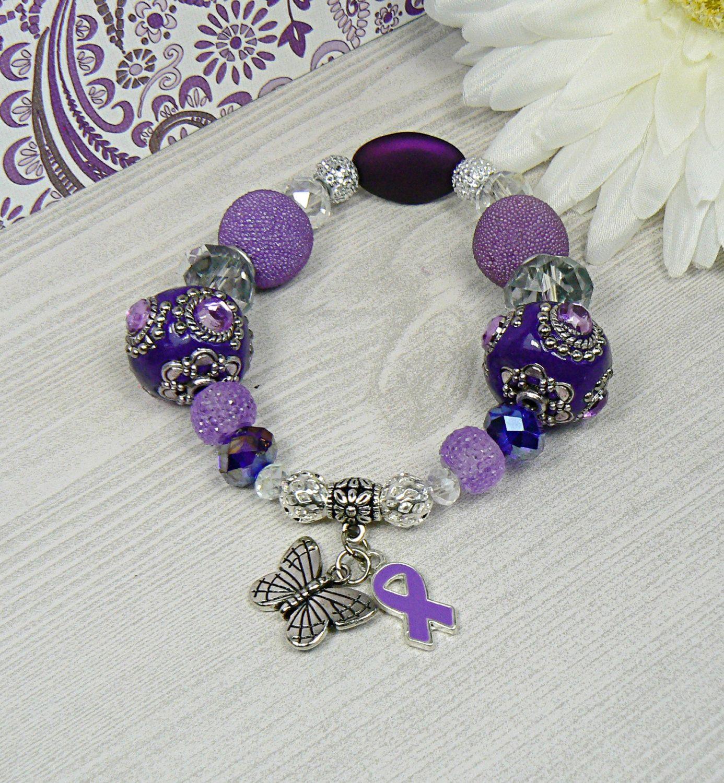 Fibro, Lupus, Cancer, Epilepsy, Alzheimers, Crohns, Sjogrens, Sarcoidosis, Pancreatic Cancer Awareness Bracelet, Purple Awareness Bracelet by HopeinBracelets on Etsy