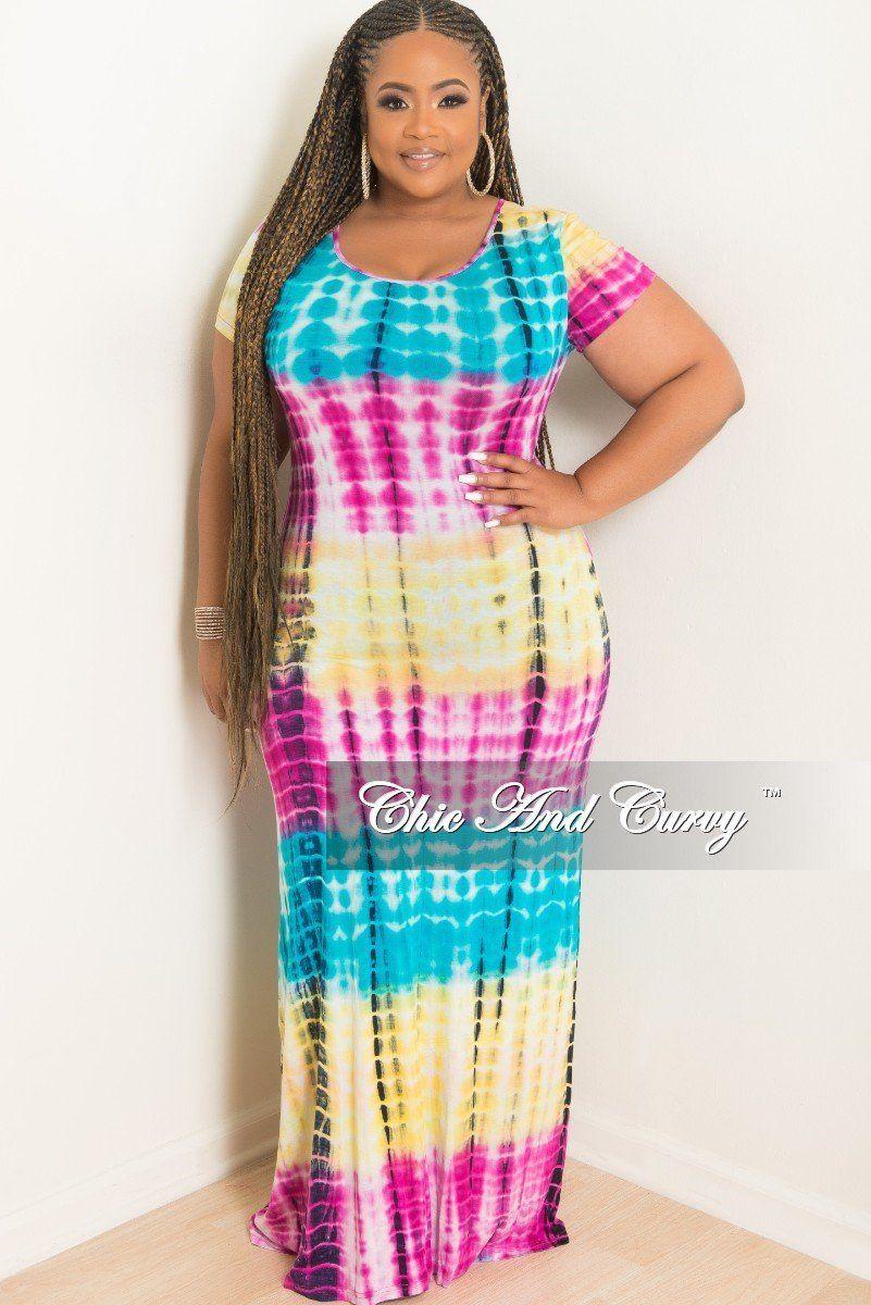 11da20ac9e2a93 Plus Size Short Sleeve Maxi Dress Tie Dye in Yellow, Aqua, – Chic And Curvy