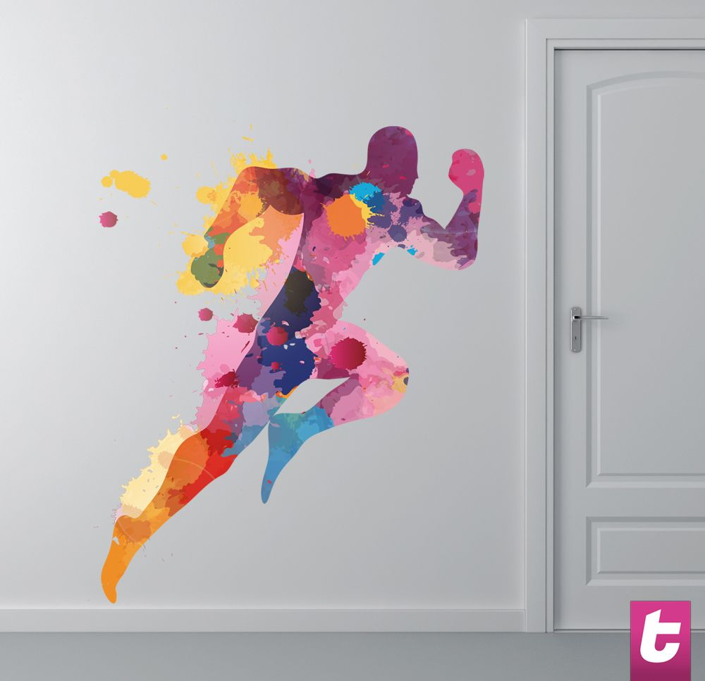 Burst of energy. Colourful Runner. #Sports #Runner #Olympics #Colour #Energy #Bright #Vibrant #WallStickers #Silhoutte