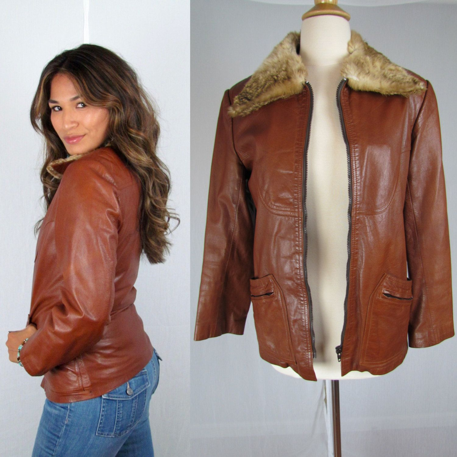 Vintage 70s Brown Leather Jacket With Fur Collar And Zip Off Faux Fur Lining By Whitefoxvintageco On Etsy Leather Jacket Fur Leather Jacket Vintage Outfits [ 1500 x 1500 Pixel ]