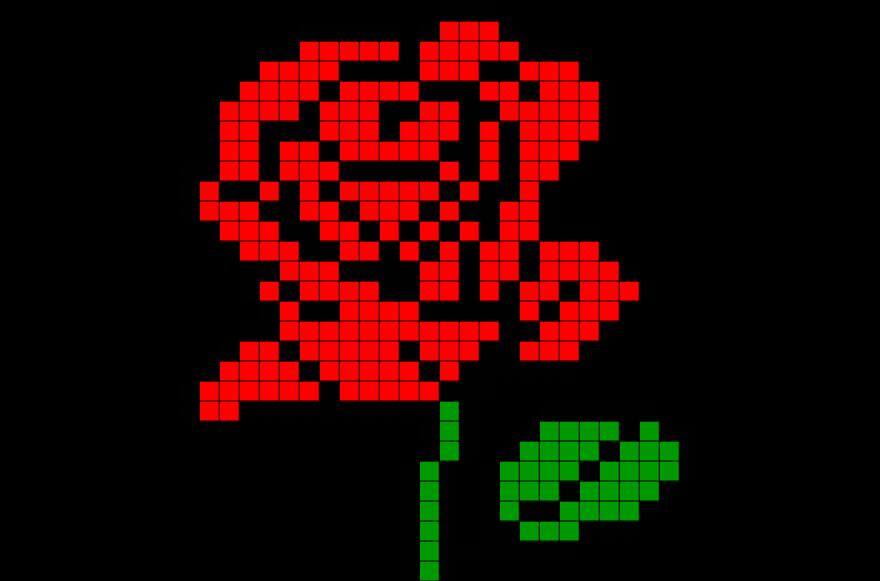 Rose Pixel Art Graph Paper Art Pixel Crochet Beading
