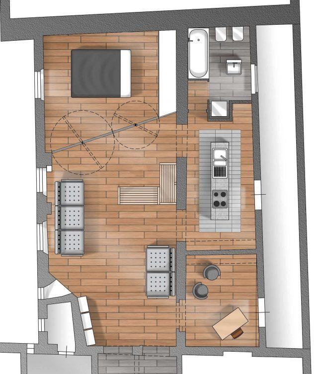 80 Mq Con Pareti Apribili Che Trasformano L Open Space In Ambienti Separati Cose Di Casa Planimetrie Di Case Architettura Moderna Progetto Di Appartamento