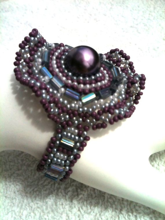 Hand Beaded Corsage Bracelet Delicate With a Lacy by BurgundyBeads, $39.00