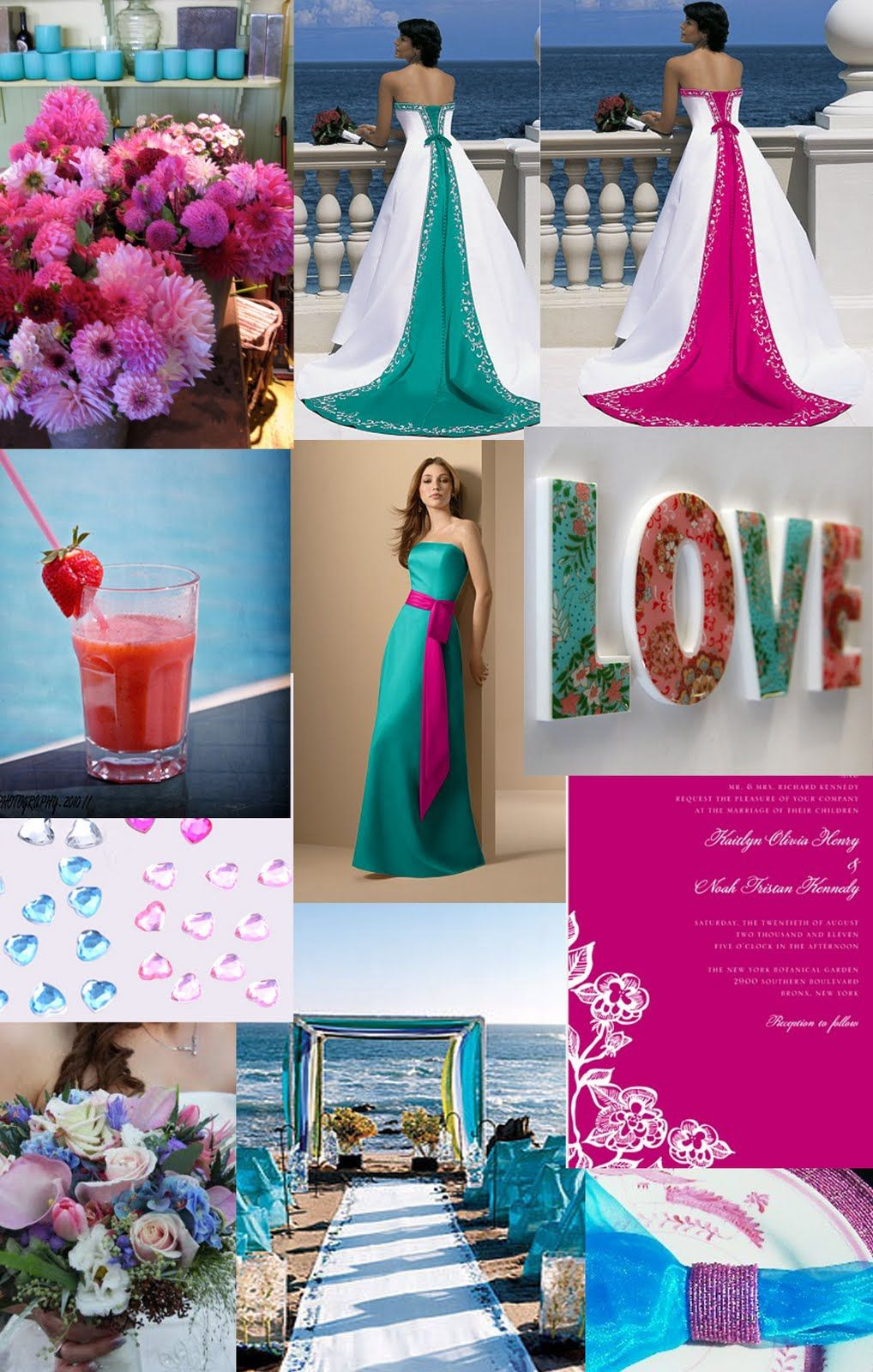 Teal and hot pink wedding parties weddingzilla for Turquoise gold wedding theme