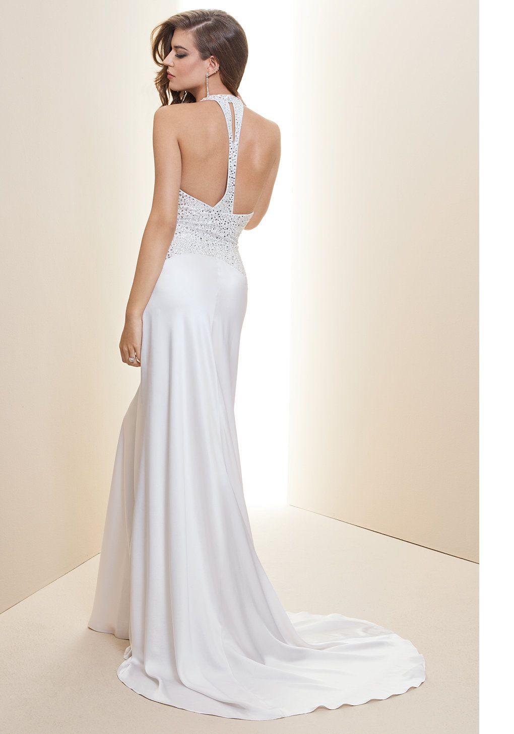 bebe   Embellished Halter Charm Bridal Gown - Rami Kashou - Bridal ...