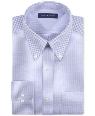 TOMMY HILFIGER Tommy Hilfiger Men's Big & Tall Classic-Fit Non-Iron Blue Check Dress Shirt. #tommyhilfiger #cloth # dress shirts