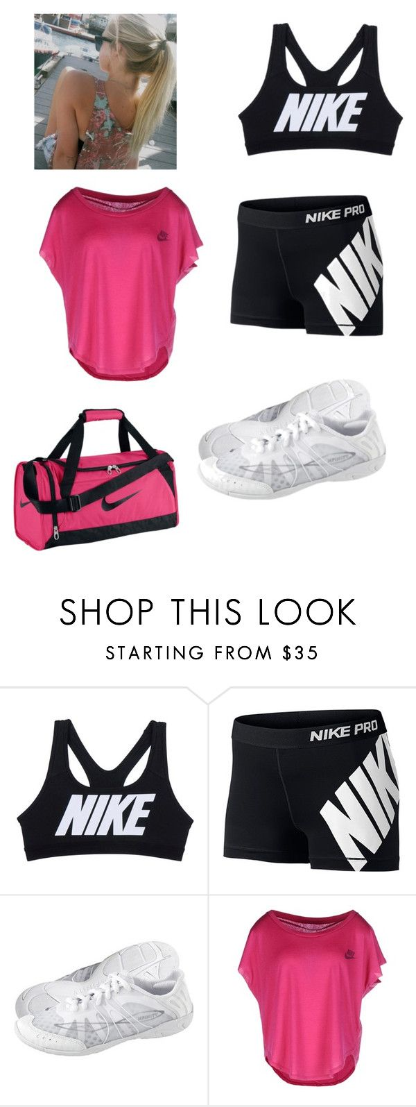 """""""Cheer Practice"""" by senaidamejia ❤ liked on Polyvore featuring NIKE"""