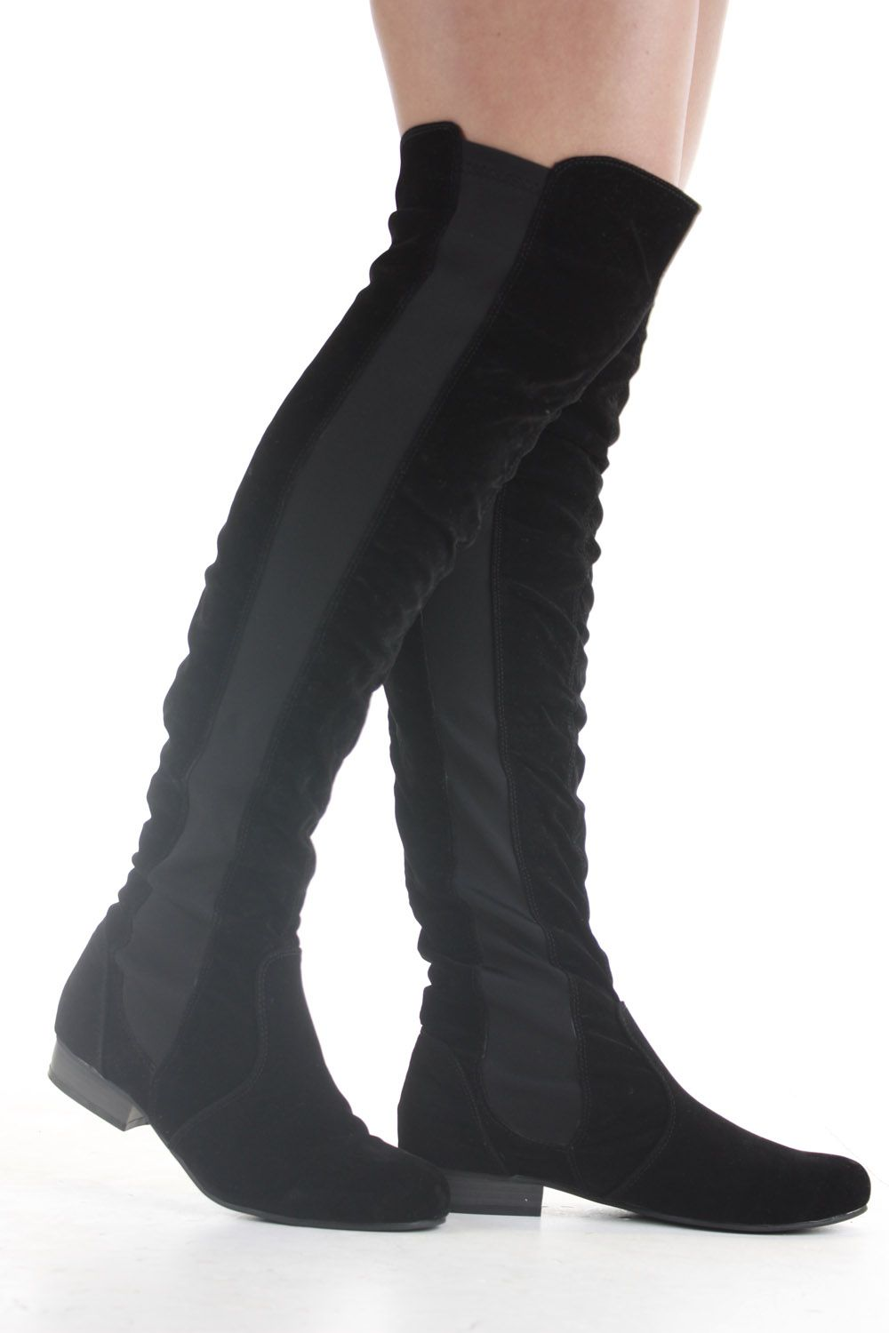 Details about Ladies Over Knee Flat Thigh High Winter Low Heel ...