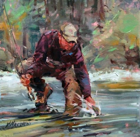 Back you go a painting of fly fishing in the northwest for Fly fishing art