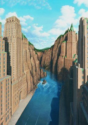 """Canyon"" - Surrealistic painting by a Rob Gonsalves"