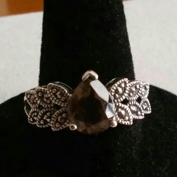 Smoky quartz and marcasite ring Sterling silver stamp is inside the band made by Avon Jewelry Rings