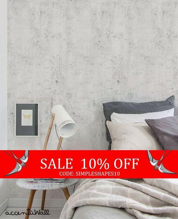 Cement Concrete Light Grey Peel Stick Fabric Wallpaper Etsy Concrete Light Comfortable Bedroom Concrete Wallpaper