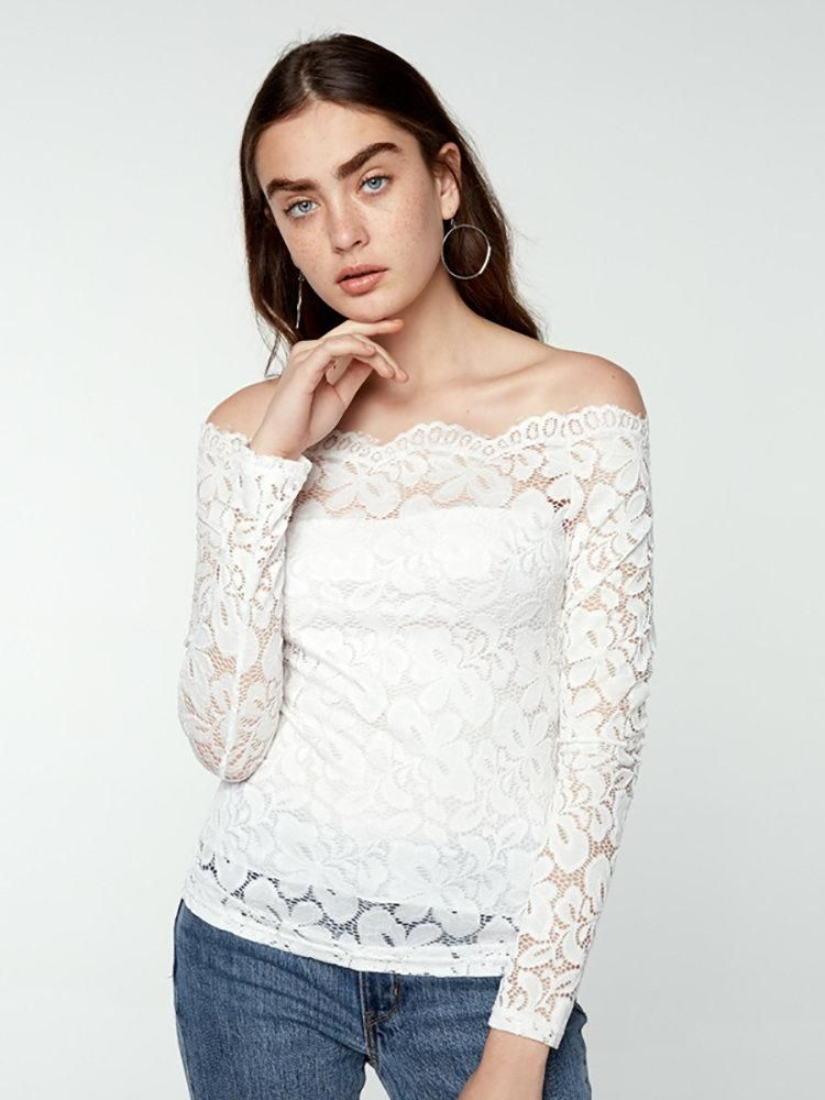 1c41549e5a9ef Sexy Women Solid Color Lace Sheer Off Shoulder Blouse. Fashion Long Sleeved  Slim Lace Top
